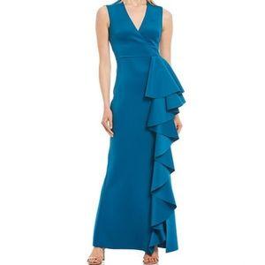 NWT Eliza J N-Neck Surplice Cascading Ruffle Sleeveless Gown, Size 16 *New Tags